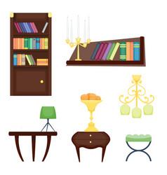 Furniture room interior design home decor concept vector