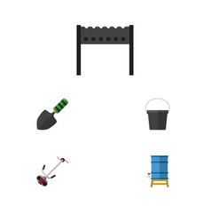 Flat icon dacha set of container barbecue trowel vector