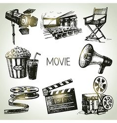 Hand drawn vintage Movie and film set vector image