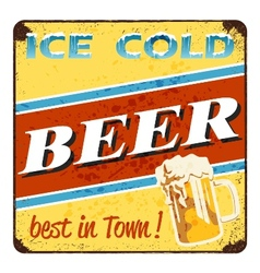 Ice cold beer - vintage beer advertisement vector