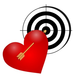 Heart with arrow and a target vector image