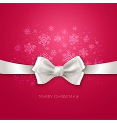 Pink christmas background ribbon with white silk vector