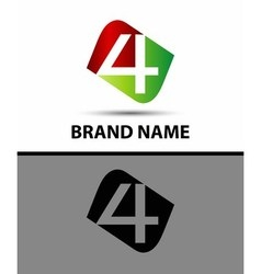 Number logo design number four logo logo 4 vector