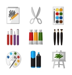 Tool set for artist in flat design style vector