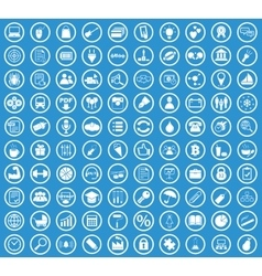 Circle icon set blue vector