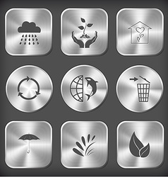 Rain plant in hands flower shop recycle symbol vector