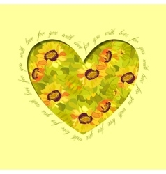 Sunflower heart design floral love card vector