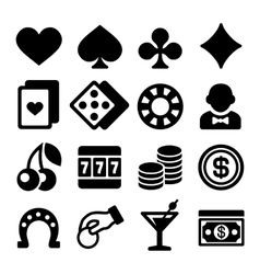Gambling casino icons set on white background vector