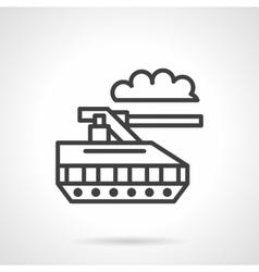 Military robot black line icon vector image