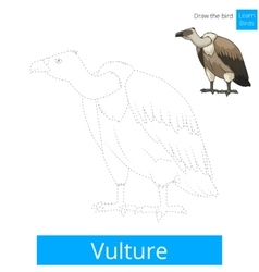 Vulture bird learn to draw vector