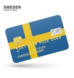 Credit card with sweden flag background for bank vector