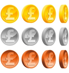 Pound coins vector