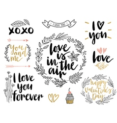 Valentines day lettering set vector