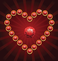 heart shape made from red diamonds - vector image