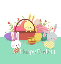Easter with colored eggs and bunnies vector