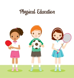 Children with sport instrument vector