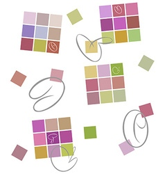 Colored background squares calligraphic strokes vector