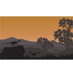 On the hills silhouette of eoraptor vector