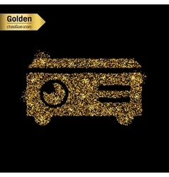 Gold glitter icon of projector isolated on vector