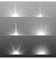 White glowing light burst on transparent vector