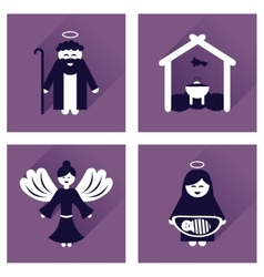 Concept of flat icons with long shadow christmas vector