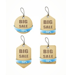 Recycled paper labels with blue ribbon set vector
