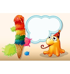 A monster celebrating beside the giant icecream vector image vector image