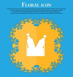 Beer bottle icon sign floral flat design on a blue vector