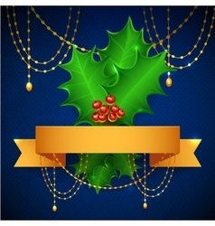 Christmas holly berry with gradient mesh vector