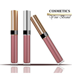 Colorful realistick lipgloss package in gold vector