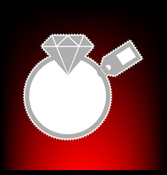 Diamond sign with tag postage stamp or old photo vector