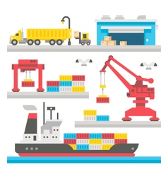 Flat design cargo port equipment vector image