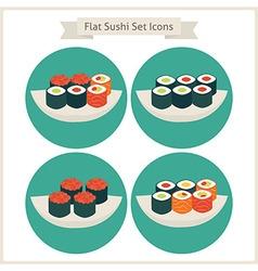 Flat food sushi set circle icons vector