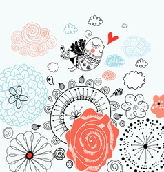 floral background with a graphic love bird vector image vector image