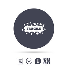 fragile parcel icon package delivery symbol vector image