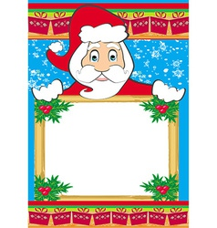 funny Santa Claus holding a Christmas frame - vector image