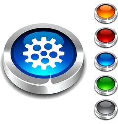 Gear 3d button vector