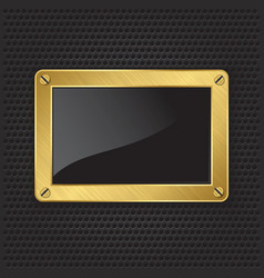 Golden frame with screws on abstract metallic back vector