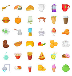 Great breakfast icons set cartoon style vector