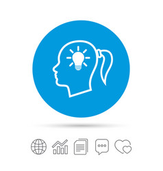 head with lamp bulb sign icon female woman head vector image