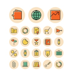 icons thin red business finance money vector image vector image
