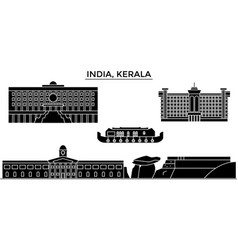 India kerala architecture urban skyline with vector