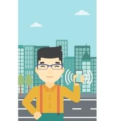 Man holding ringing telephone vector