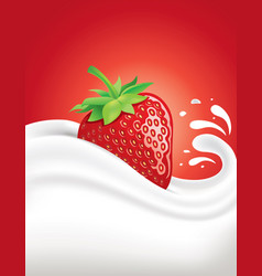 Milk splash with fresh strawberry vector