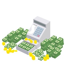 Open cash register machine with a lot of money vector