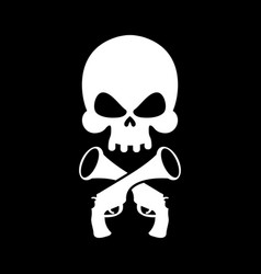 Pirate flag skull black banner filibuster head vector