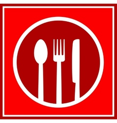 red restaurant sign with utensil vector image