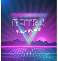 Retro Disco 80s Neon Poster made in Tron style vector image vector image