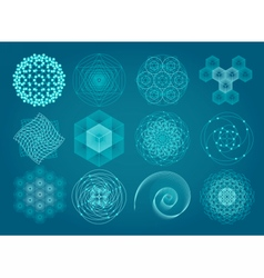 Sacred geometry symbols and elements set vector image vector image