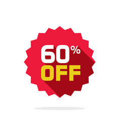Sale tag badge template 60 percent off vector